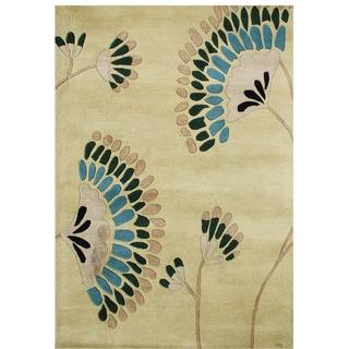 Alliyah Handmade Deep Lichen Green New Zealand Blend Wool Rug (5x8)
