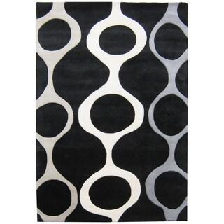 Alliyah Handmade Black New Zealand Blend Wool Rug (6' x 9')