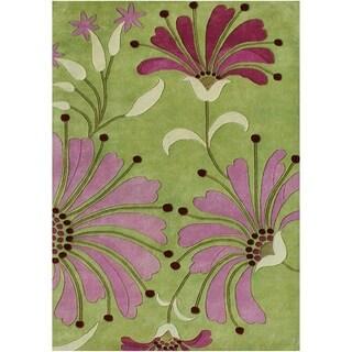 Alliyah Handmade Green New Zealand Blend Wool Rug (6' x 9')