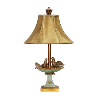 Dimond Lighting Love Birds in Bath 1-light Gold Leaf and Gransmoth Green Table Lamp
