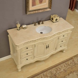 Silkroad Exclusive 60 Inch Cream Marfil Marble Stone Top Bathroom Single Vanity Sink