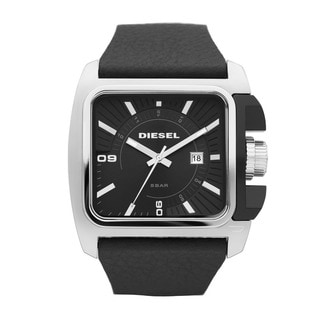 Diesel Men's Square Case/ Black Leather Strap Watch