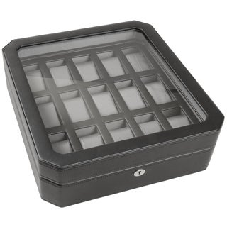 WOLF Pebble Black 15-compartment Watch Box