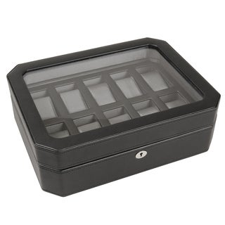 WOLF Pebble Black 10-compartment Watch Box