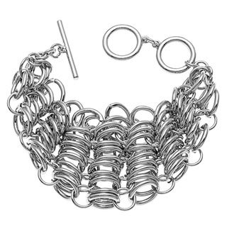 Kate Bissett Silvertone Multi-chain Link Toggle Bracelet