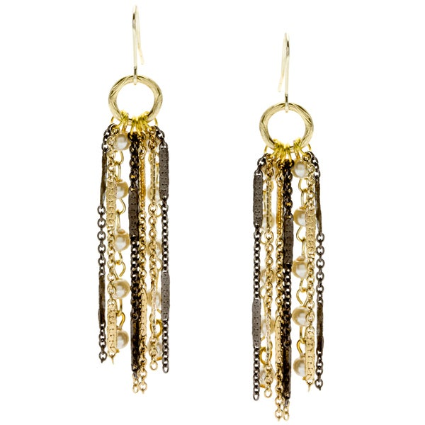 Kate Bissett Two-tone Faux Pearl Chain Dangle Earrings