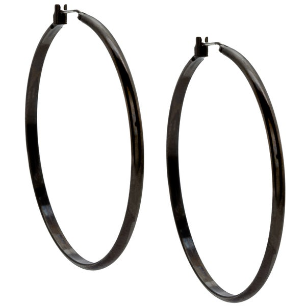 Kate Bissett Black-plated Classic Hoop Earrings