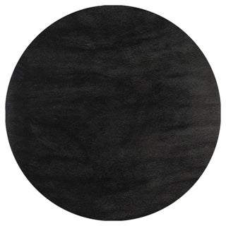 Hand-tufted Posh Black Shag Rug (4' Round)