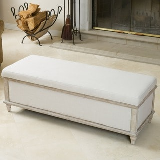 Christopher Knight Home Abilene Light Beige Fabric Storage Ottoman Bench