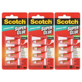 Scotch Pack of 12 Single Use Super Glue Precision Tip No Run Gel