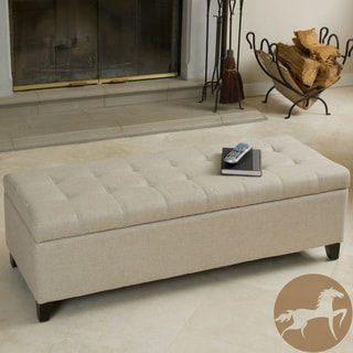 Christopher Knight Home Mission Beige Tufted Fabric Storage Ottoman Bench