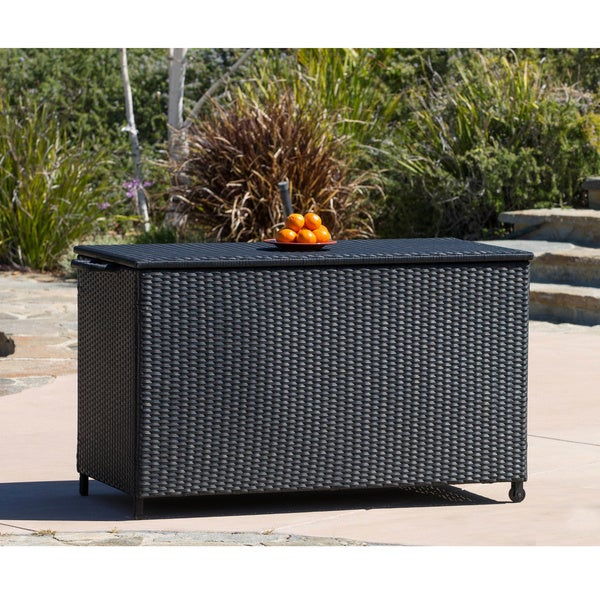 Small Black Wicker Cushion Box