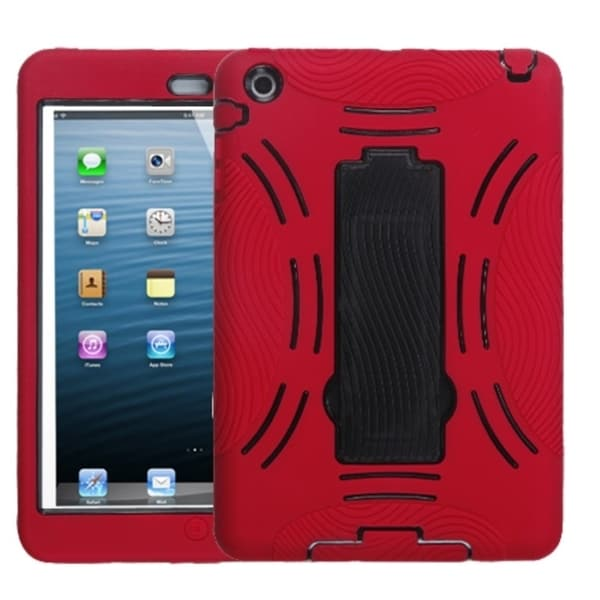 INSTEN Black/ Red Tablet Case Cover with Stand for Apple iPad Mini