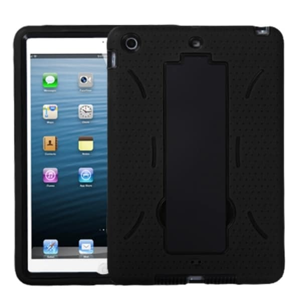 INSTEN Black/ Black Tablet Case Cover with Stand for Apple iPad Mini
