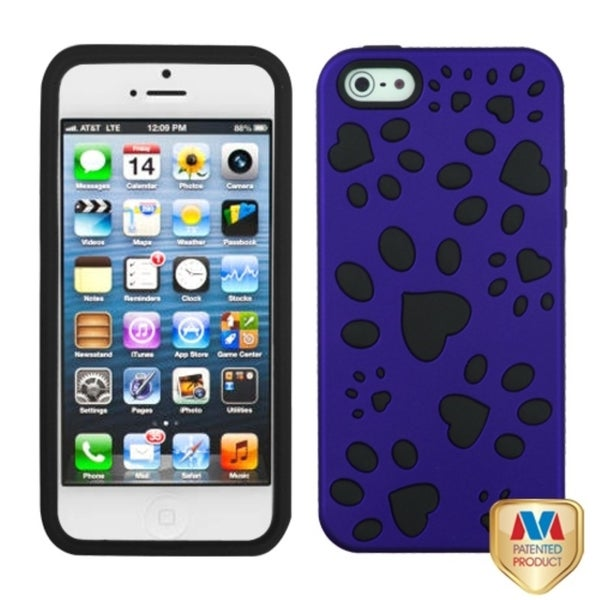 INSTEN Titanium Dark Blue/ Black Dog Paw Phone Case Cover for Apple iPhone 5 5G