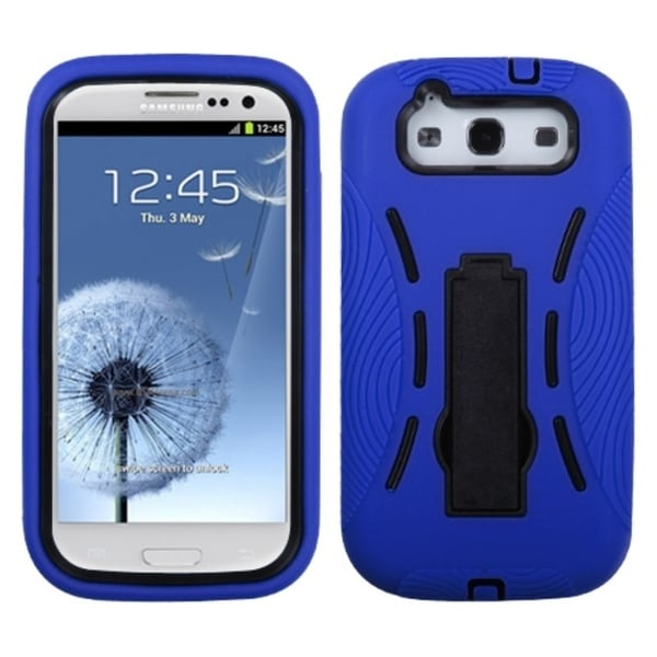 INSTEN Black/ Blue Phone Case Cover with Stand for Samsung Galaxy S III/ S3 i9300