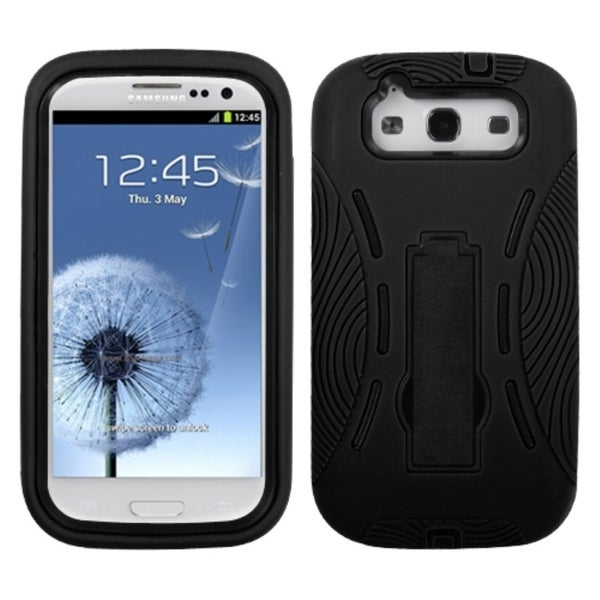 INSTEN Black/ Black Phone Case Cover with Stand for Samsung Galaxy S III/ S3 i9300