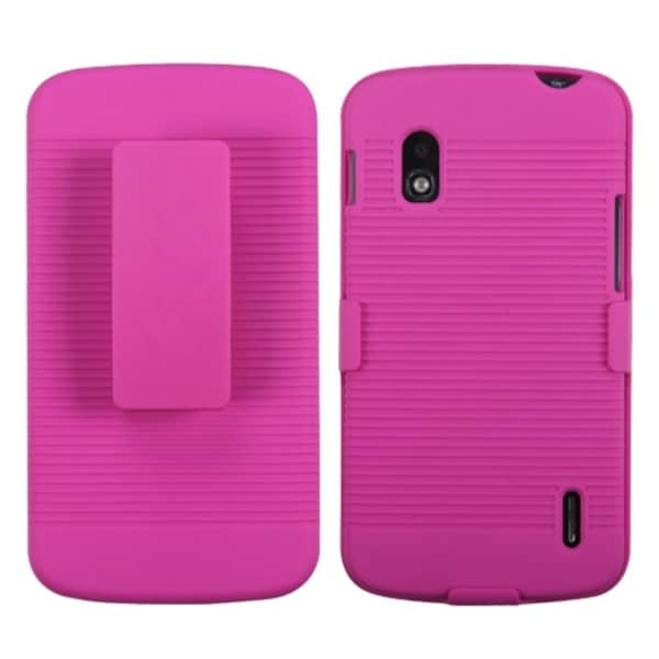 BasAcc Hot Pink Rubberized Holster for LG E960 Nexus 4