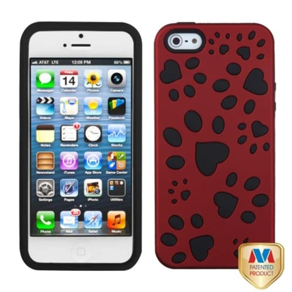 INSTEN Titanium Red/ Black Dog Paw Hybrid Phone Case Cover for Apple iPhone 5