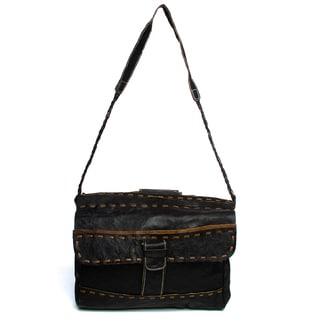 Leather Stripe Messenger Bag (Nepal)