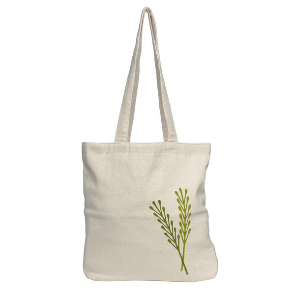 White/ Green Floral Woven Tote Bag (Nepal)