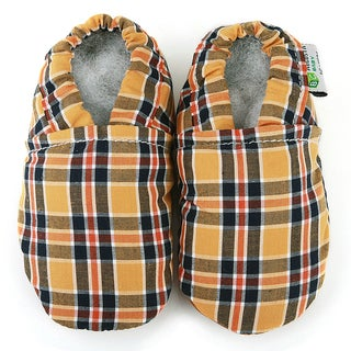 Leather Baby Shoes in Gold and Blue Plaid