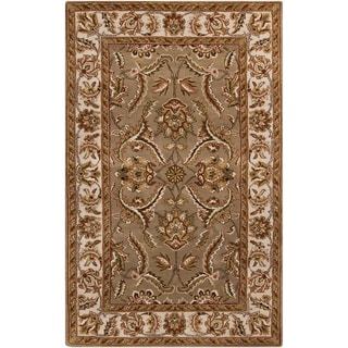 Hand-tufted Royal Natural Classic Border Floral Rug (6' x 9')