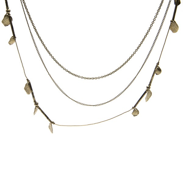 Kate Bissett Gold Leaf and Chain Fashion Necklace