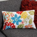 Bright Flowers Rectangle Cotton Pillow Cover (India)