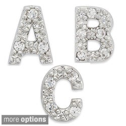 Dolce Giavonna Sterling Silver Cubic Zirconia Initial Single Stud Earring