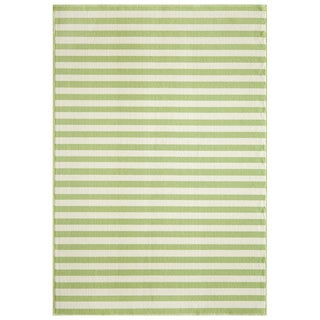 Striped Indoor/Outdoor Green Rug (8'6 x 13')