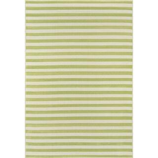 Striped Indoor/Outdoor Green Rug (5'3 x 7'6)