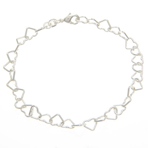 Sunstone Silverplated Open Heart Link Bracelet