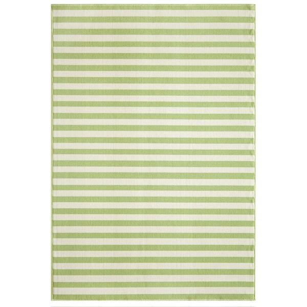 Indoor/Outdoor Striped Green Rug (6'7 x 9'6)