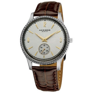 Akribos XXIV Men's White Dial Crystal-accented Watch