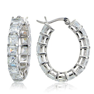 Icz Stonez Silver Asscher-Cut Cubic Zirconia Oval Hoop Earrings
