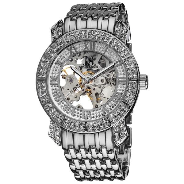 Joshua & Sons Men's Automatic Skeleton Crystal Silvertone Bracelet Watch