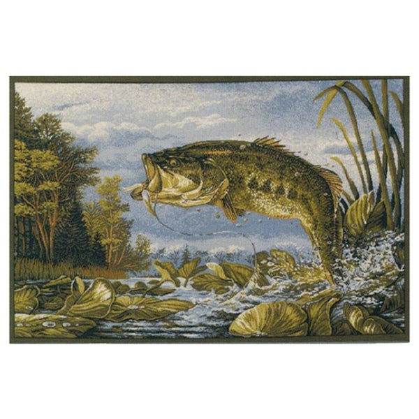 Lodge Fishing Bass Area Rug (4' x 5'8)