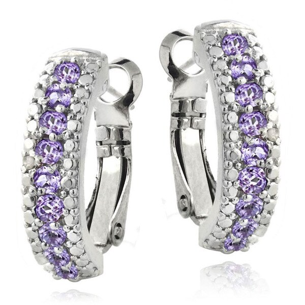 Glitzy Rocks Gemstone and Diamond Accent Half Hoop Earrings