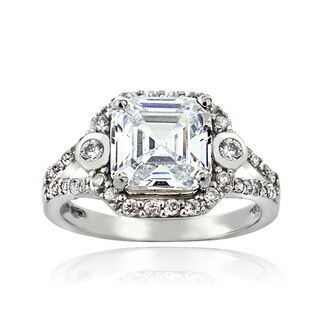 Icz Stonez Silver Asscher-cut Cubic Zirconia Engagement-style Ring