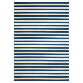Indoor/Outdoor Navy Striped Rug (7'10 x 10'10)