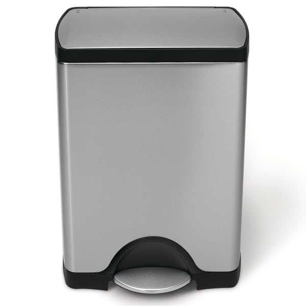 simplehuman Rectangular Step Brushed Stainless Steel Trash Can (8 Gallon)