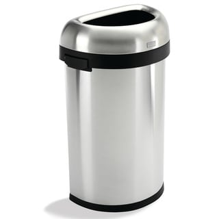 simplehuman Semi-Round Brushed Stainless Steel Open Trash Can (16 Gallons)