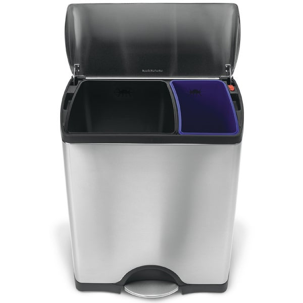 simplehuman Rectangular Step Brushed Stainless Steel Recycler Trash Can (12 Gallons)