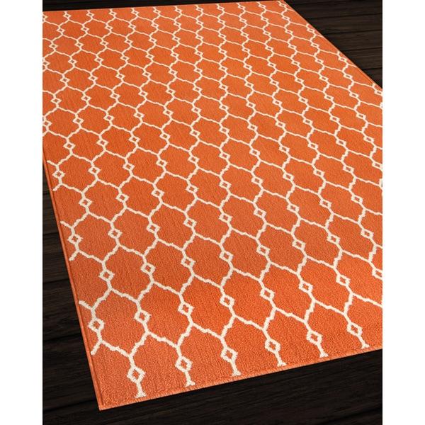 Indoor Outdoor Orange Trellis Rug 5 3 x 7 6