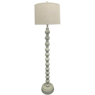 White Distressed Wood Floor Lamp