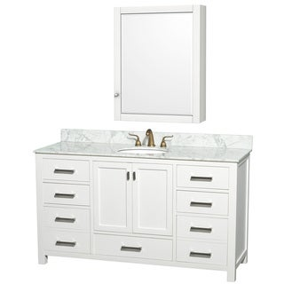 Abingdon Carrera Marble Top White Vanity, Sink and Medicine Cabinet Set