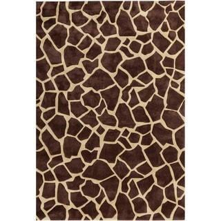 Hand-tufted Brown Contemporary Animal Pallaton Rug