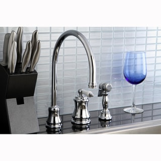High-Spout Chrome-Finished Brass Kitchen Faucet with Side Sprayer