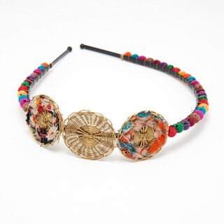 Kantha Headband with Colorful Pom Poms (India)